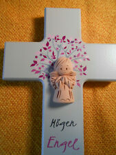 Kinderkreuz mit Tonengel Taufe Kommunion Gastgeschenk Motiv Lebensbaum rosa