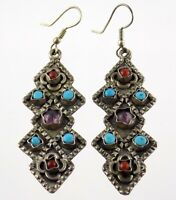 Vtg Taxco Mexico Sterling Silver Gemstone Earrings Turquoise Amethyst Onyx 925