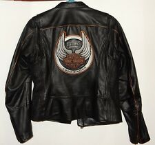 Harley Davidson Ladies Black Leather Jacket 105th Anniversary Rare Harley Medium