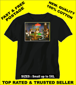 Tee Shirt New Unisex classic poster DOGS PLAYING POKER quality cotton t-shirt