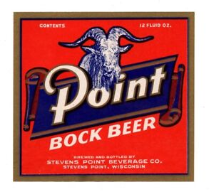 1950s STEVENS POINT BEVERAGE CO, STEVENS POINT, WISCONSIN POINT BOCK BEER LABEL