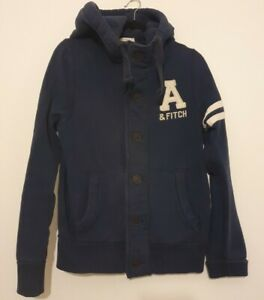 Mens Abercrombie Muscle Fit Hoodie Button Up Blue Perfect Size Medium