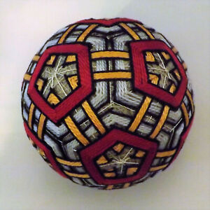 Japanese Temari Ball Red Pentigan within Gray Pentigan with Gold Triangles