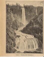 Stampa antica TERNI Cascata delle Marmore Umbria 1899 Old antique print