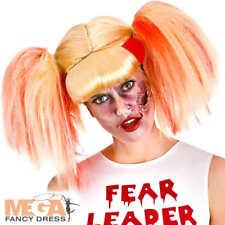 Zombie Cheerleader Wig Ladies Fancy Dress Halloween Undead Costume Accessory New