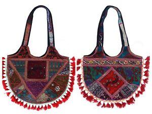Vintage Embroidery Sequin Bohemian Indian Handmade Patchwork Tassel Banjara Bag