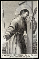 holy card engraving S.PETRUS XUQUEXICO M. in JAPAN 18th.