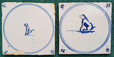 Two Antique Dutch Delft Blue White Dog Circle Tiles 18th C Spider Corners