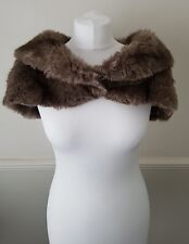 New Karen Millen Ladies Brown Faux fur Cape Coat Size 1 UK 8-10 Bargain!
