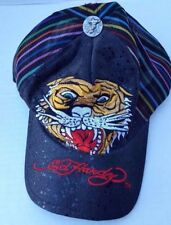 Ed Hardy Cap Hat Tiger Lion Stitch Embroidered Bling Black Vintage Tattoo Wear