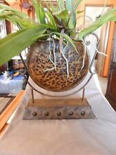 """Brown & Black Metal Round Vase Tabletop 14.25"""" Tall Antique Finish w/Flowers"""