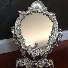 Antique table mirror In Cherub Design / Silver Plate In A Box