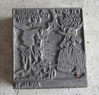 Unusual Vintage Wood Metal Print Block for Comic Strip with Man & Woman Talking