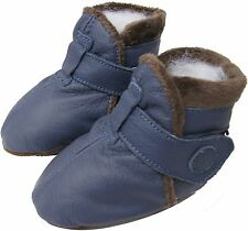 carozoo booties blue 0-6m soft sole leather baby shoes