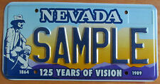 Nevada 1989 125 YEARS OF VISION MINER GRAPHIC SAMPLE License Plate # SAMPLE