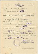 042 Foglio di Congedo Illimitato provvisorio - Repubblica IT Lucca, 1947