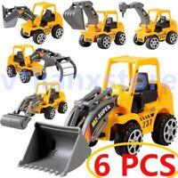 6PCS Kids Mini Alloy Construction Truck Car Model Toy Digger Cupcake Decorations