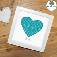 Etta James 'At Last' Personalised Framed Song Lyrics Heart Print - Wedding
