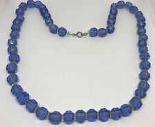 Beads & Clear Silver Chain Clear Antique Necklace Blue Depression Glass Faceted