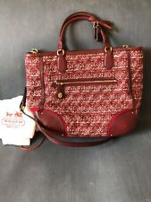Brand New Vintage Coach Handbag Purse Bag Red Burgundy Tweed Leather Strap Metal