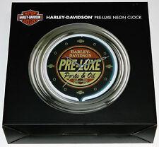 """12"""" Harley-Davidson Pre-Luxe Neon Clock Retro Parts & Oil Graphic *NEW*"""