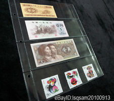 10 Pcs Album Pages 4 Pockets Money Bill Note Currency Holder 185*60mm