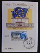 FRANCE CONSEIL EUROPE MK 1974 EUROPARAT MAXIMUMKARTE CARTE MAXIMUM CARD MC c6842