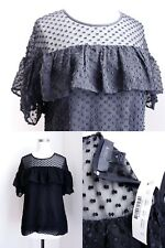 J.CREW Edie top in textured clip dot F8992 Black Work Date Blouse Shirt NEW NWT