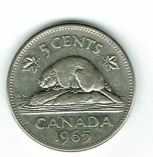 1965 Canadian Circulated Elizabeth II Five Cent Coin!