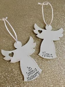 Personalised Christmas Hanging Tree Decoration White Angel In Loving Memory