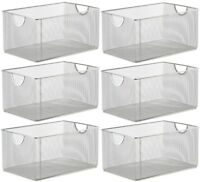 Ybm Home Mesh Open Bin Shelf Storage Basket Organizer Sold Per 6 Pieces 1116-6
