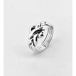 Puzzle Ring By Herron 9ct Gold Four Piece White Gold Puzzle Ring Size (R-Z)
