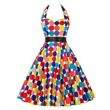 KQ_ HK- Women Rainbow Dots Halter Sleeveless Backless Belt Swing Ball Gown Dress