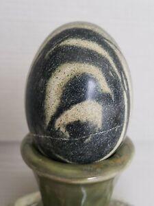 Black White Swirl Marble Stone Agate Egg?