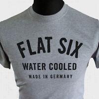 Flat Six T Shirt Porsche Retro Water Cooled 911 996 997 991 Boxster Carrera Grey