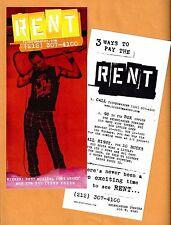 """Jonathan Larson """"RENT"""" Idina Menzel / Adam Pascal / Anthony Rapp 1990's Flyer"""