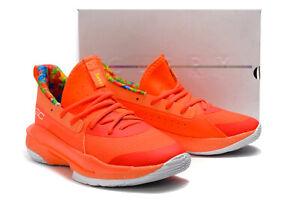 Under Armour Mens 13.5-16 Curry 7 Sour Patch Kids Peach Plasma Shoes 3021258 603
