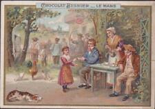 CHROMO PUBLICITAIRE CHOCOLAT BESNIER-LE MANS-Jeu de Fléchettes-Séance Chocolat