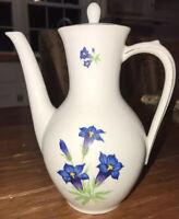 """SCHIRNDING BLUE FLORAL FLOWER BAVARIA 8"""" TALL TEA COFFEE POT TEAPOT"""