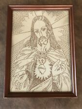 Beautiful & Unique Antique Jesus Christ Stitched Tapestry Framed Iconic Picture