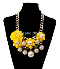 Yellow Gold Pearl Statement Fashion Necklace & Matching Earrings, Acrylic Beads