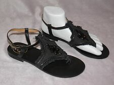 Jack Rogers 6M Black Fabric Strappy Ankel Sandals Thong Look Frayed Jewels CUTE!