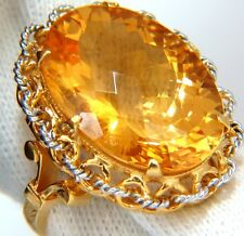 26ct natural golden yellow checkerboard cut citrine ring 18kt 3d braid link dec