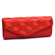 Dasein Women Evening Bag Envelope Bag Woven Ribbon Clutch with Chain Strap Red