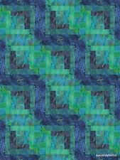 12 Block Log Cabin Quilt Kit Batik Fabric PACIFIC NIGHTS #2  NEW  Pre-cut