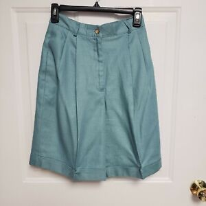 Talbots Seafoam Green Linen Cuffed Bermuda Shorts 6