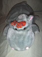 """Vtg Hippopotomus 5 Baby Zipper Pocket Plush Stuffed Bijou Plush Soft Toy 14"""""""