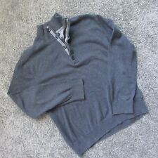 BANANA REPUBLIC MEN L PULLOVER SWEATER 4 BUTTON COLLAR HENLEY 1/4 ZIP GREY WARM