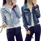 New Short Casual Vintage Long Sleeve Jean Coat Womens Girl Slim Denim Jacket
