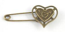 Bronze Colour Cupids Arrow Heart Pin Brooch ideal for kilt, scarf, cardigan etc